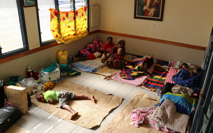 One of the rooms at the special needs evacuation centre in the Mormon church facility compound on Espiritu Santo.