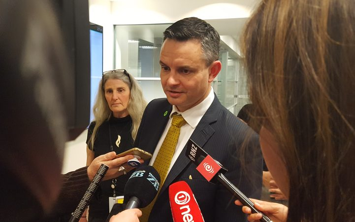 James Shaw talks to media after meeting with Labour