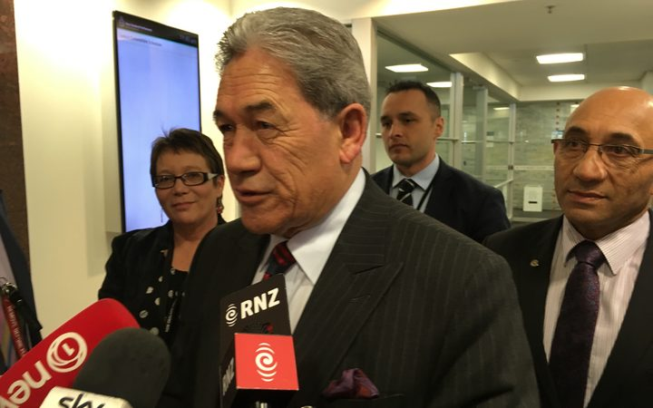 New Zealand First leader Winston Peters emerges from just over two hours of talks with Labour.