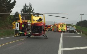 Four emergency helicopters were dispatched to the scene of the crash