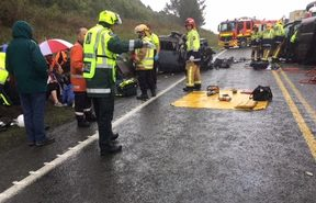 Emergency services at the crash site north of Taupō