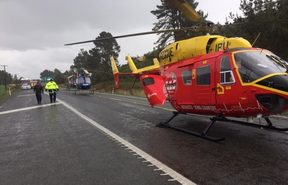 A baby was among injured passengers transported to hospital by rescue helicopter