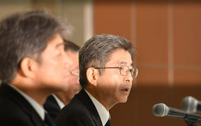 Kobe Steel executive vice-president Naoto Umehara a media conference on the the falsified quality control data.
