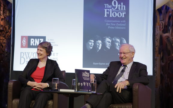Long-serving Prime Ministers Helen Clark and Jim Bolger at the launch of The 9th Floor book
