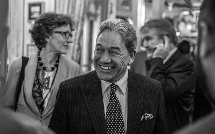 Winston Petters, leader of New Zealand First, speaks with guests from his party's hq in Russell, on election night 2017.