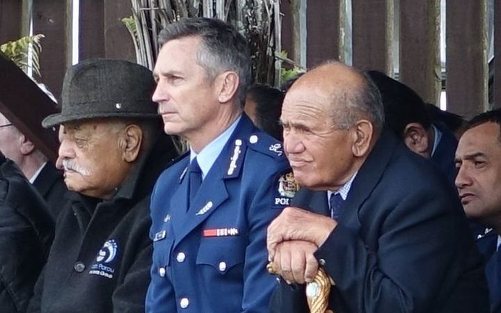 Police Commissioner Mike Bush and kaumatua at Te Rewarewa Marae in 2014. Photo / Mani Dunlop.