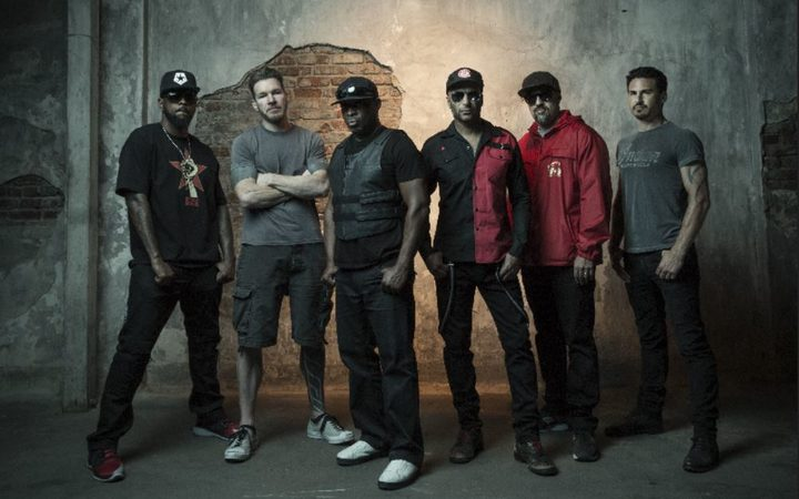 Prophets Of Rage (l-r DJ Lord, Tim Commerford, Chuck D, Tom Morello, B-Real, Brad Wilk)