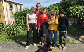 Ngahuia, Rachel, Luka with Charlie (ginger cat) Rosa, Albert and Oscar Wilde Paws (kelpie)