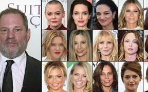US producer Harvey Weinstein and first row from left: actress Rose McGowan, Angelina Jolie, Asia Argento, Gwyneth Paltrow, Ashley Judd, Lea Seydoux, Mira Sorvino, Rosanna Arquette, Louisette Geiss, Kate Beckinsale, Lauren Sivan, Jessica Barth, Elizabeth Karlsen, Emma De Caunes, Judith Godreche.