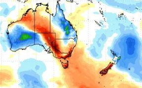 Unseasonably warm air is tracking towards the South Island.