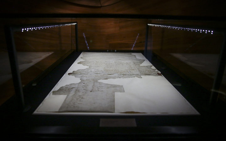 The Treaty of Waitangi. He Tohu, a new permanent exhibition of three iconic constitutional documents that shape Aotearoa New Zealand. Treaty of Waitangi, Declaration of Independence and Women's Suffrage Petition.