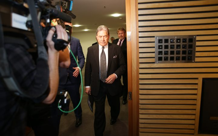 New Zealand First leader Winston Peters arriving for the announcement.