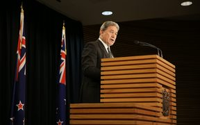 New Zealand First leader Winston Peters announcing the coalition with Labour.