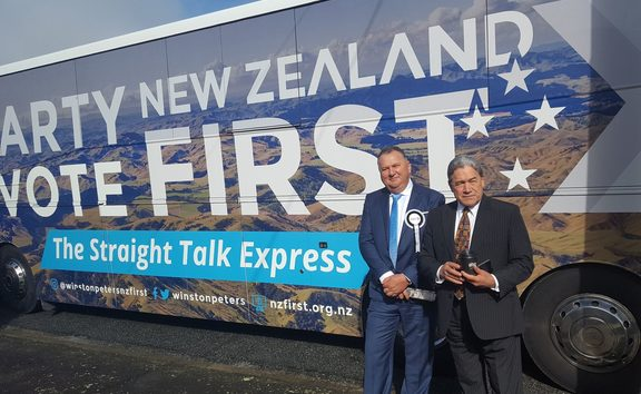 Winston Peters and Shane Jones outside their party's bus.