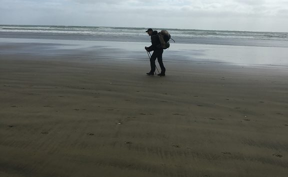 An image of a fellow trail walker in the distance on 90 Mile Beach.