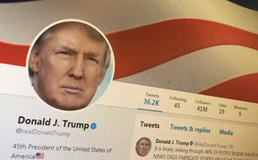 Donald Trump has an official @POTUS Twitter account, but more often tweets from his personal account