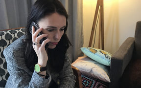 Incoming Prime Minister Jacinda Ardern speaks with US President Donald Trump