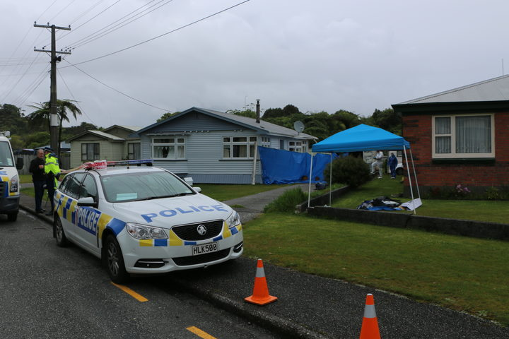 Police at the scene in Greymouth.