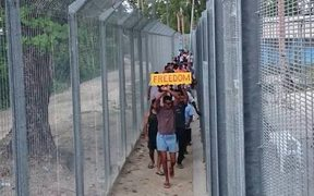 An image from the 84th day of protest in the Manus Island detention centre.