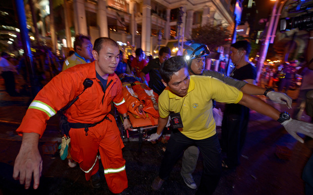 Emergency workers at Bangkok explosion