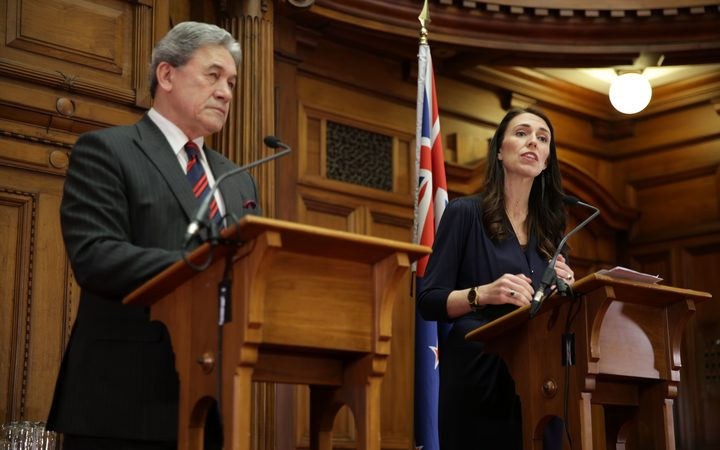 Jacinda Ardern and Winston Peters speak after signing the coalition agreement.