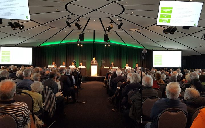 Fletcher Building chair Sir Ralph Norris talks to shareholders at the company's AGM in Auckland.