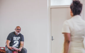 David Fane and Nicole Whippy in rehearsal for 'The Mountaintop'