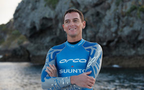 World champion freediver William Trubridge, Orca sponsorship shoot, Great Barrier Island, Auckland, New Zealand.