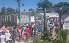 An image from the 75th day of protest at the Manus detention centre.