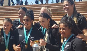 Labour leader Jacinda Ardern with the Black Ferns Labour leader Jacinda Ardern with the Black Ferns in Civic Square in Wellington.