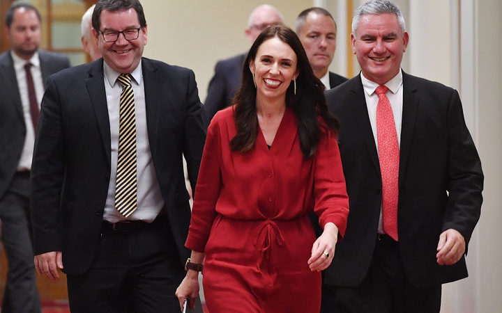 Labour Party leader Jacinda Ardern with MPs Kelvin Davis, right, and Grant Robertson.