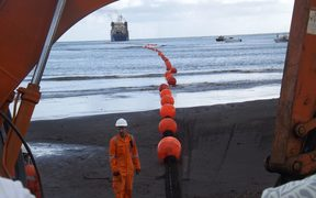 Submarine cable coming ashore in Samoa