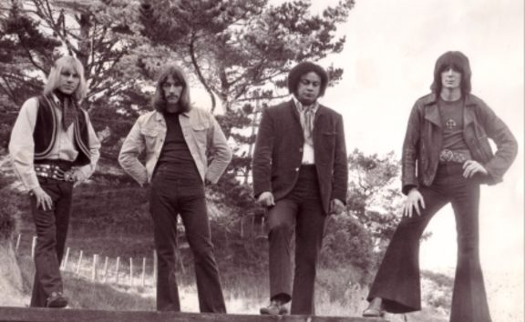 The second line-up of Wellington band Tom Thumb (left to right) featuring Bruce Sontgen on vocals, Mike Farrell on lead guitar, Tom Swainson on drums and band founder and bass player Rick White. Photo Rick White archive.