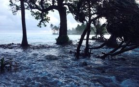 A high tide across Ejit Island in Majuro Atoll, Marshall Islands on March 3, 2014, causing widespread flooding. Officials in the Marshall Islands blamed climate change for severe flooding in the Pacific nation's capital Majuro.