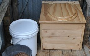 Wooden compost toilet made by Greg Inwood