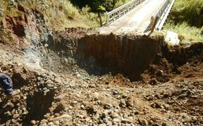 Dug up highway near PNG LNG project gas plant