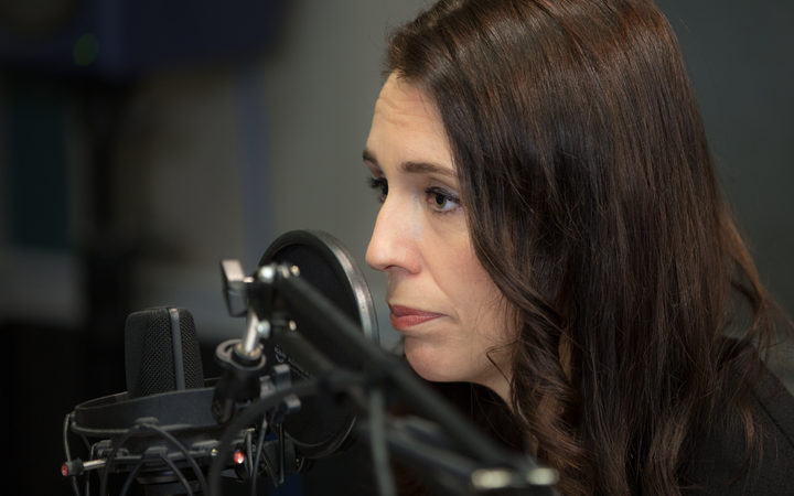 Prime Minister Jacinda Ardern in the RNZ Auckland studio for Morning Report. 30 October 2017.