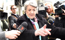 Maggie Kirkpatrick leaves after being sentenced in Melbourne for historic child sex charges on 21 April 2015.