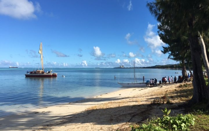 Okeanos Marianas arriving in the waters off Susupe Civic Park on Saipan.