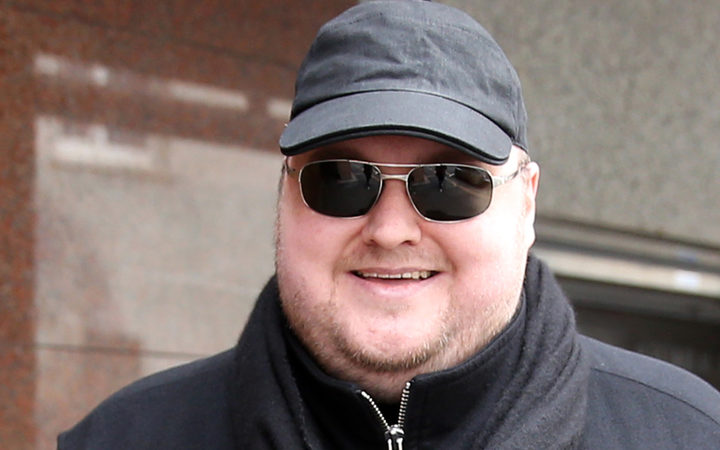 Kim Dotcom leaving court in 2015.