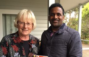 Alison Corke and Para Paheer who became penpals while Para was an asylum seeker on Christmas Island.