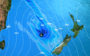 The low pressure system is approaching New Zealand from the Tasman.