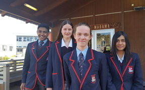 Year 11 students at Newlands College Wellington are nervous but confident about their first NCEA exams. From left are Senuka Sudusinghe, Madi Ulusele, Isaac Andrews, and Isha Bhatnagar.
