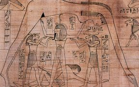 Detail from the Greenfield Papyrus depicting the air god Shu, assisted by the ram-headed Heh deities, supporting the sky goddess Nut as the earth god Geb reclines beneath.