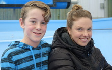 Lauren Boyle with with 11-year old Macandrew Bay school pupil Solomon Harcombe