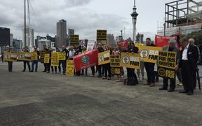 Rail and Train union delegates protest at Auckland Viaduct.