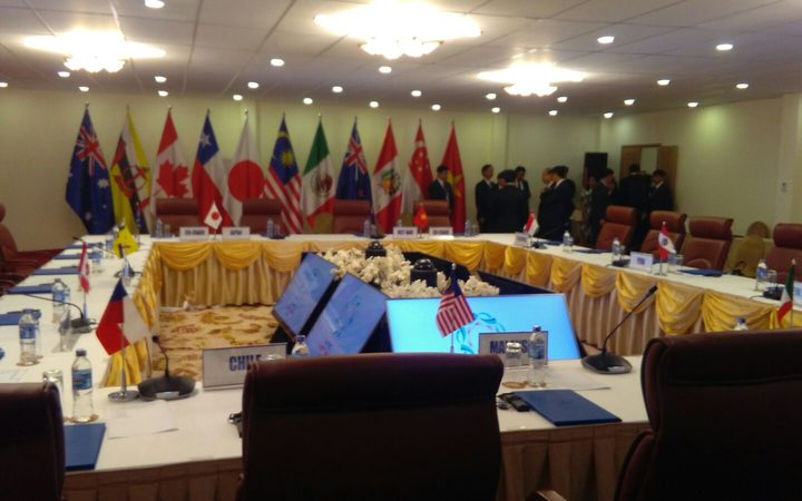 The meeting room where TPP-11 leaders were due to discuss the future of the trade pact.