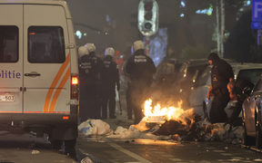 Crowds clashed with police in Brussels following Morocco's football win.