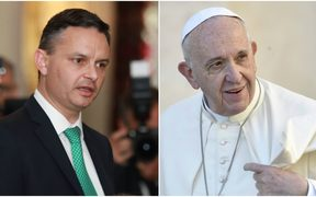 James Shaw and Pope Francis.