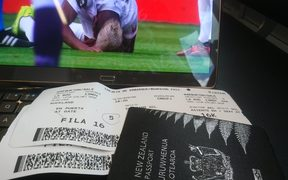 A shot of All Whites fan Dale Warburton's tickets as he heads to Lima for the second NZLvPER.